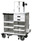 Featherweight double endoscopy travel cart with locking storage drawers