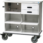 Featherweight double endoscopy workstation cart with custom shelving