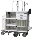 Featherweight motorized double endoscopy travel cart with locking storage drawers and tank holder