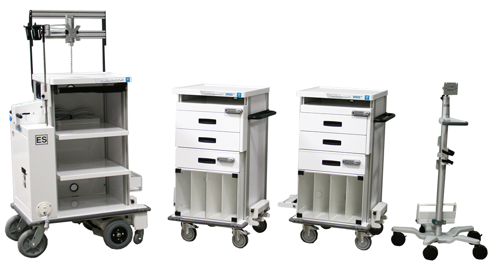 SPECS motorized endoscope transport cart system with rolling monitor stand