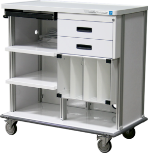 Featherweight double endoscopy workstation cart with keyboard tray