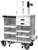 Featherweight double endoscopy travel cart with locking storage drawers - small