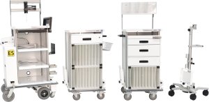 SPECS motorized endoscopy travel cart with supply carts and monitor stand