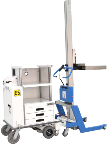 Motorized service cart with lifter