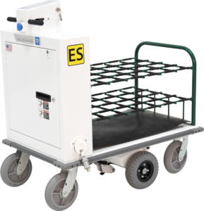 Ergo-Express motorized cart with shortened deck and oxygen tank rack - front