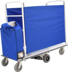 Ergo-Express motorized cart with custom rail kit and slip cover - enclosed